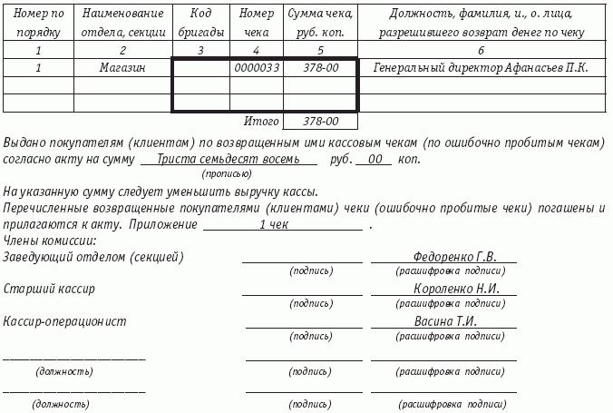 акт снятия денежных средств в кассе бланк - фото 9