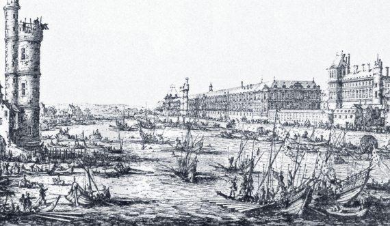 Париж вид на лувр и тюильри в первой
