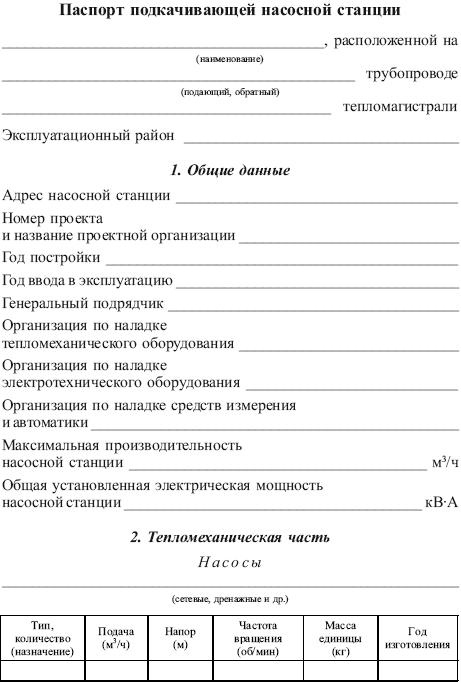 Технический паспорт котельной образец